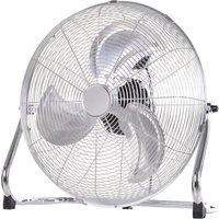 100W On-Floor Fan Home Office Oscillation w/ 3-Speed Wind Silver Tone - Homcom