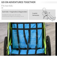 2-In-Foldable Baby Child Bike Stroller Carrier with 2 Seat w/ Bag Green - Homcom