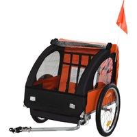 HOMCOM 2-Seat Child Bike Trailer Carrier w/ 5-point Safety Harness Wheels Orange