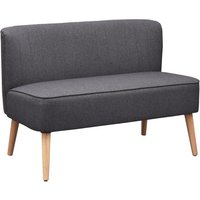 2 Seater Modern Double Seat Sofa Bed Loveseat Couch Compact Sofa Padded Linen Wood Leg - Dark Grey - Homcom