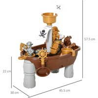 HOMCOM 26 Pcs Pirate Ship Play Table Sand and Water Fun Outdoor Indoor Activity Set