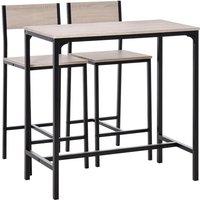 3 Pcs Kitchen Dining Set High Back Stools Table Sleek Minimal Oak Tone - Homcom
