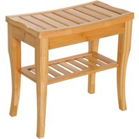 HOMCOM 45cm 2-Tier Slatted Bamboo Shower Bench Storage Seat w/ 4 Legs Safe