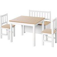HOMCOM 4PC Wooden Children Table 2 Chairs Toy Storage Bench Stool Kids