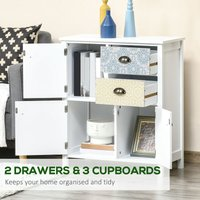 HOMCOM 5 Drawer Table Multi-purpose Storage Chest Sideboard Retro Style Entryway