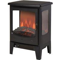 HOMCOM 900W/1800W Freestanding Electric Fireplace w/ Adjustable Artificial Flame