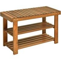 Acacia Wood 3-Tier Shoe Storage Rack Bench Footwear Holder - 70L x 28W x 45H cm - Homcom