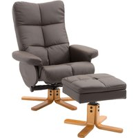 HOMCOM Adjustable Wooden Base PU Leather Recliner Swivel Chair and Ottoman Footrest with Storage (Brown)