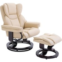 Bentwood Base PU Leather Padded Manual Recliner Footstool Set Beige - Homcom