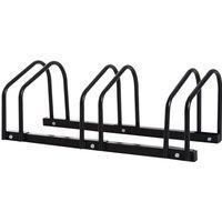 HOMCOM Bike Stand Parking Rack Floor or Wall Mount Bicycle Cycle Storage Locking Stand - 3 Racks, Black