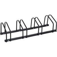 HOMCOM Bike Stand Parking Rack Floor or Wall Mount Bicycle Cycle Storage Locking Stand - 4 Racks, Black