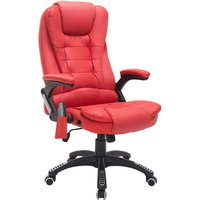 Deluxe Reclining Faux Leather Office Computer Chair 6-Point Massage High Back Desk Work Swivel Chair Red - Homcom
