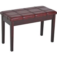 HOMCOM Faux Leather Piano Stool Double Duet Bench with Storage 75L x 35W x 49H (cm) - Wine Red