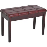 Faux Leather Piano Stool Double Duet Bench with Storage 75L x 35W x 49H (cm) - Wine Red - Homcom