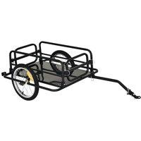 Folding Bike Trailer Cargo Steel Frame Storage Carrier with Hitch - Black - Homcom