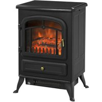 HOMCOM Freestanding Electric Fire Place Indoor Heater Glass View Log Wood Burning Effect Flame Portable Fireplace Stove 1850W