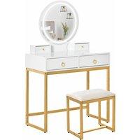 HOMCOM Gold-Tone Glam Dressing Table Stool LED Mirror Set w/ 4 Drawers Bedroom