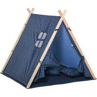 HOMCOM Kids Indoor Outdoor Teepee Play Tent Garden Playhouse w/ Mat Pillow Carry Bag
