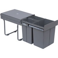 Kitchen Recycle Waste Bin Pull Out Soft Close Dustbin Recycling Cabinet Trash Can Grey (40L (1x20L+2x10L)) - Homcom