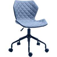 HOMCOM Linen Home Office Swivel Computer Desk Chair w/ Wheels Adjustable Blue