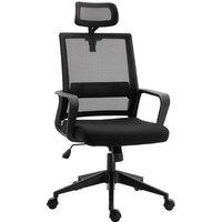 Office Chair Ergonomic Moving Headrest 360° Swivel Base 5 Wheels Black - Homcom