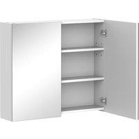 On-Wall Double Mirror Bathroom Storage Cabinet Cupboard w/ Shelf - Homcom