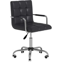 HOMCOM PU Leather Height Adjustable Office Computer Chair Bar Kitchen Stool - Black