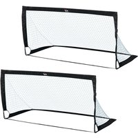 Set of 2 6 x 3ft Football Goal Nets Foldable Outdoor Sport