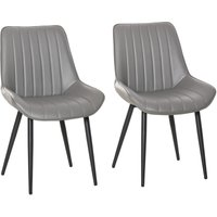 Set Of 2 PU Leather Mid-Century Dining Chairs Stylish Home Seats Grey - Homcom