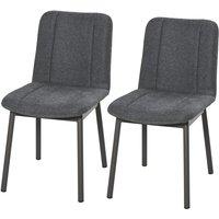 HOMCOM Set Of 2 Simple Linen-Look Home Dining Chair w/Padding Metal Leg Dark Grey