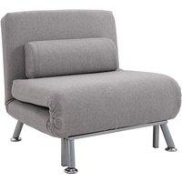 Sofa Chair Bed w/ Metal Frame Padding Pillow Home Furniture Grey - Homcom