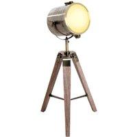 Vintage Tripod Table Desk Lamp Bedside Light Spotlight Copper Finish Wooden Base - Homcom