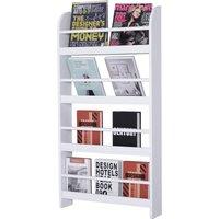 Wood Blend 4-Tier Wall Hanging Bookshelf Magazine Papers Rack White - Homcom