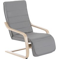HOMCOM Wood Lounging Chair Deck Relaxing Recliner Seat w/Footrest Light Grey