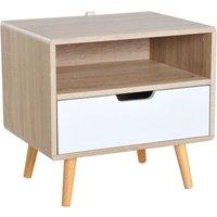 Wooden Bedside Storage Cabinet Bedroom w/ Drawer Open Shelf - Homcom