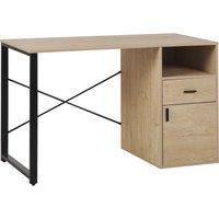 Beliani - Industrial Home Office Desk Drawer Cabinet Shelf 120 x 60 cm Light Wood Huston