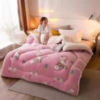 Home Textile Lamb velvet Duvet Snow Fleece Winter Quilt Core Silk Quilt 150 * 200cm Rose