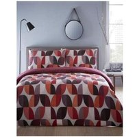 Homespace Direct Abstract Double Quilt Duvet Cover Bedding Bed Set and 2 Pillowcase Berry Red Reversible