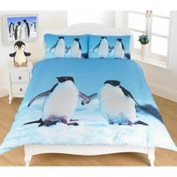 Homespace Direct Photographic Baby Penguins Super King Quilt Duvet Cover and 2 P/case Bedding Set