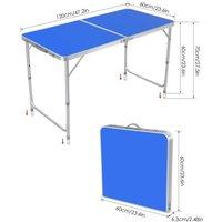 Homfa 4ft Folding Table Outside Camping Table Portable For Picnic Festival Fishing BBQ?blue?