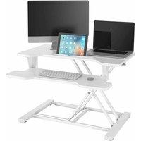 Homfa Sit Stand Desk Laptop Stand Height Adjustable Standing Desk Converter Screen Riser Computer Workstation (White)