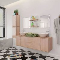 11 Piece Bathroom Furniture Set with Basin with Tap Beige VD17076 - Hommoo