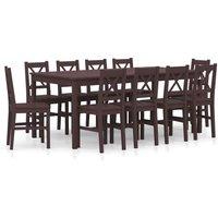 11 Piece Dining Set Pinewood Dark Brown VD24240 - Hommoo