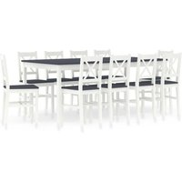 Hommoo 11 Piece Dining Set Pinewood White and Grey VD24239