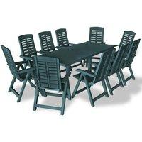 11 Piece Outdoor Dining Set Plastic Green VD18019 - Hommoo