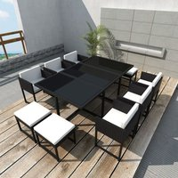 11 Piece Outdoor Dining Set with Cushions Poly Rattan Black VD33989 - Hommoo