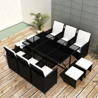 11 Piece Outdoor Dining Set with Cushions Poly Rattan Black VD33974 - Hommoo