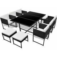 11 Piece Outdoor Dining Set with Cushions Poly Rattan Black QAH33989 - Hommoo