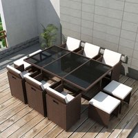 11 Piece Outdoor Dining Set with Cushions Poly Rattan Brown VD33978 - Hommoo