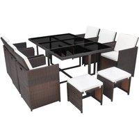 11 Piece Outdoor Dining Set with Cushions Poly Rattan Brown QAH33978 - Hommoo